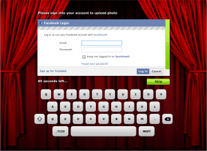 Guest Facebook Uploader with virtual keyboard