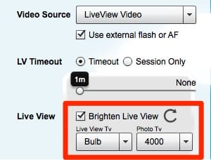 Sparkbooth dark liveview settings