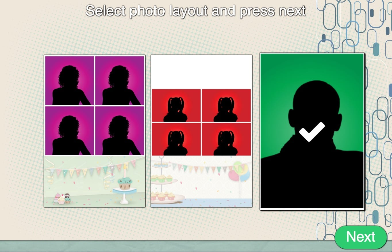 Sparkbooth Photo Layout Selection Screen with Different Photo Sizes