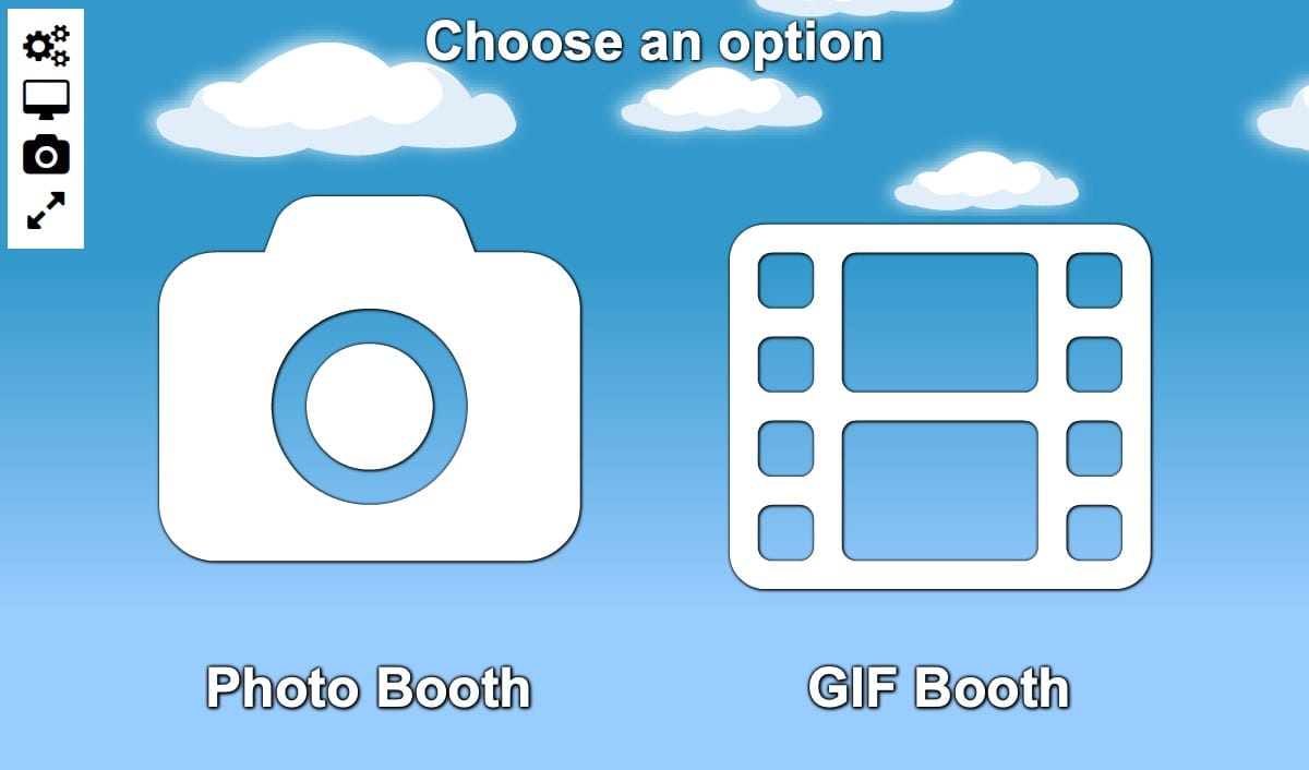 Photo or GIF Booth Selection Start Screen