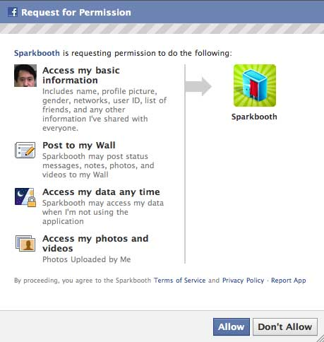 Facebook request for permissions