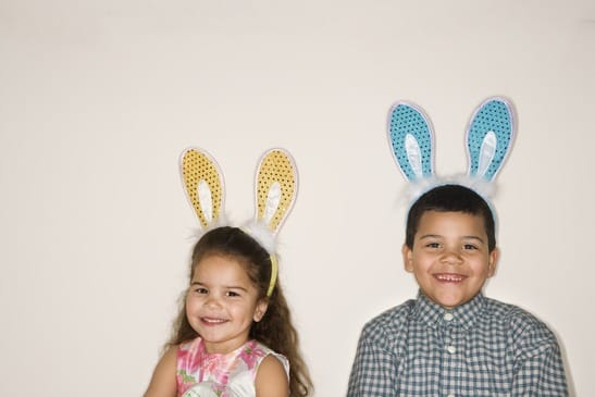 Kids wearing bunny ears.