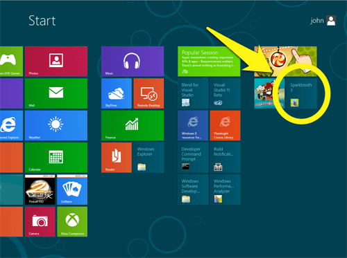 Starting Sparkbooth from Windows 8
