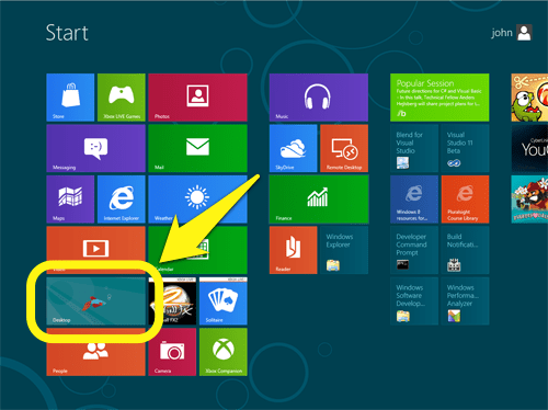 Starting desktop from Windows 8