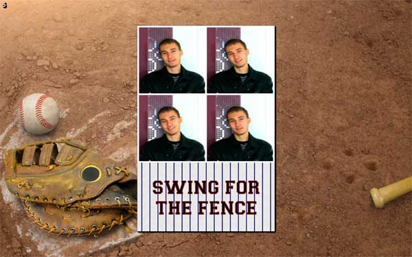Baseball photo booth theme and layouts