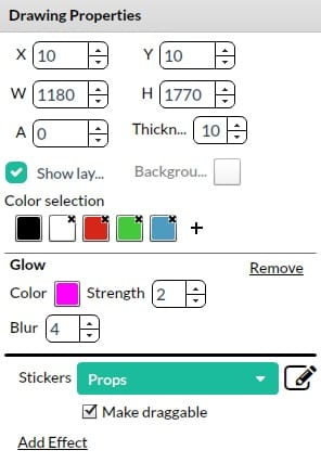 New Sparkbooth drawing properties dialog